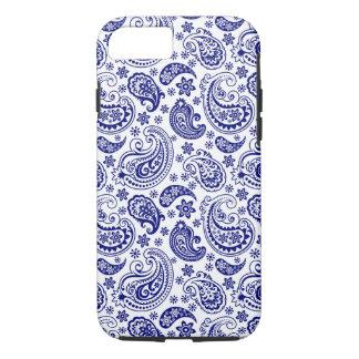 Blue & White Retro Paisley Ham Pattern iPhone 7 Case