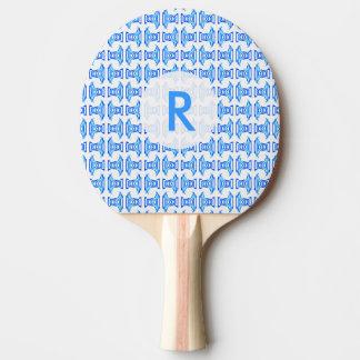 Blue White Retro Pattern Ping Pong Paddle