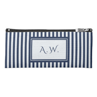 Blue & White Sailor Stripes Monogram Pencil Case
