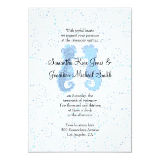 Blue & White Seahorse Pointillism Custom Wedding Card