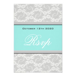 Blue White Silver Lace Wedding RSVP Cards Announcement