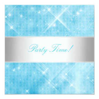 Blue White Silver Lights Party Card