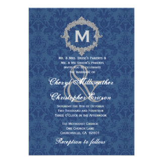 Blue White Silver Vintage Monogram Wedding V013 Custom Invitations