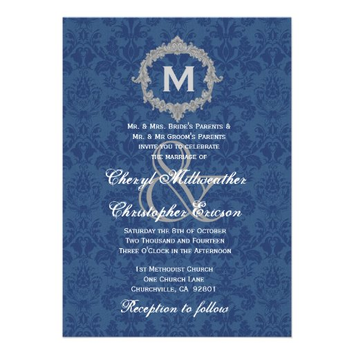 Blue White Silver Vintage Monogram Wedding V013 Custom Invitations