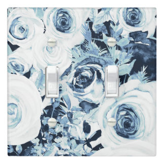 Blue White Silver Winter Floral Roses Vintage Light Switch Cover