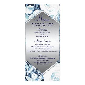 Blue White Silver Winter Wedding Vintage Rose Menu