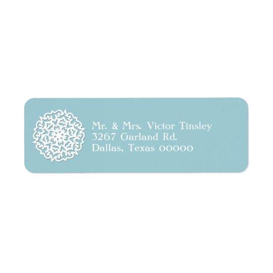 Blue & White Snowflake Custom Return Address Label