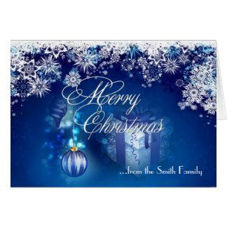 Blue White Snowflake Merry Christmas Card