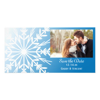 Blue White Snowflake Winter Wedding Save the Date Picture Card
