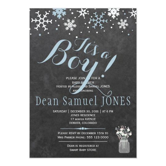 Blue white snowflakes chalkboard boy baby shower card