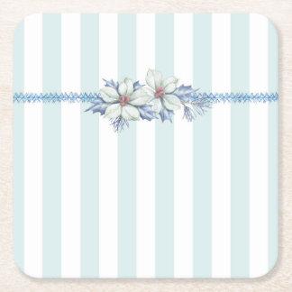 Blue & White Square Christmas Coaster