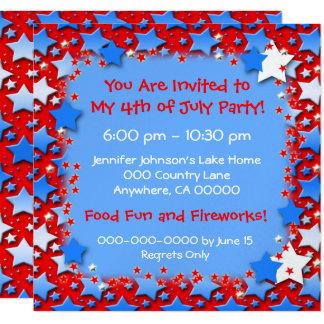 "Blue White Stars on Red 5.25"" Square Invitation Card"