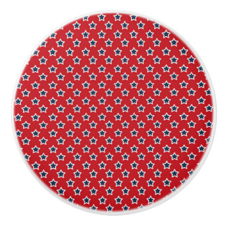 Blue & White Stars on Red Ceramic Knob