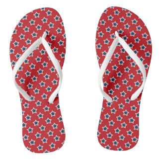 Blue & White Stars on Red Flip Flops