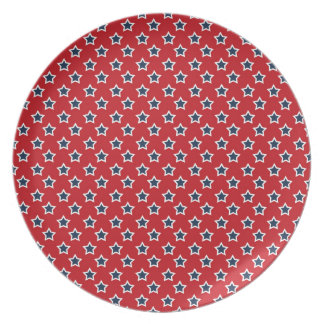 Blue & White Stars on Red Party Plate