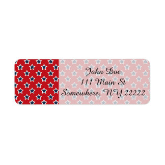 Blue & White Stars on Red Return Address Label