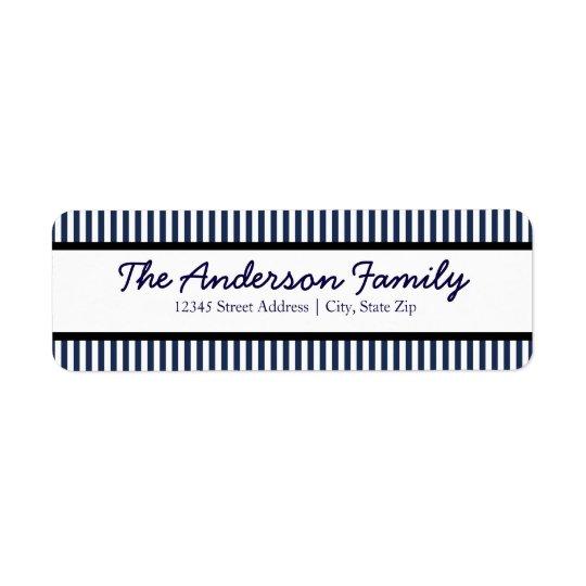 Blue & White Stripe - Address Label