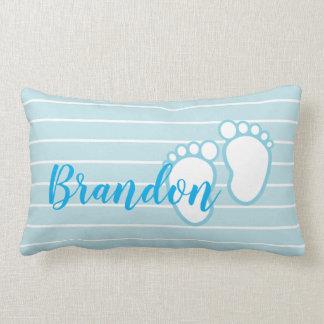 Blue White Stripe Baby feet Footprint Personalized Lumbar Pillow