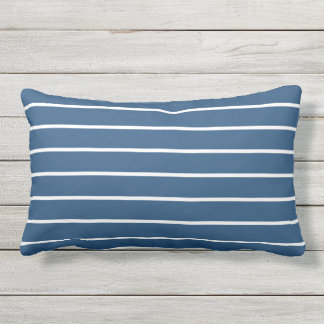 Blue White Stripe Classic Nautical Design Outdoor Pillow