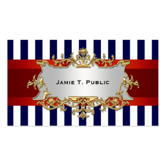 Blue White Stripe, Red Ribbon, Gold Framed Label Double-Sided Standard Business Cards (Pack Of 100)