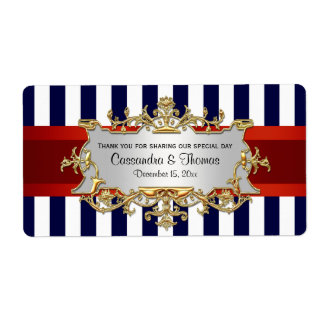 Blue White Stripe, Red Ribbon H Wine Bottle Label Shipping Label