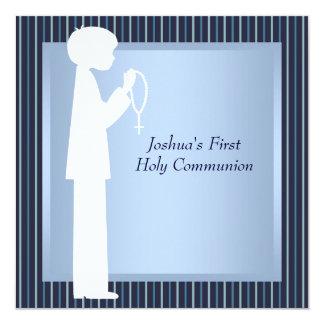"Blue White Stripe Rosary Boys First Communion 5.25"" Square Invitation Card"