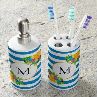 Blue White Striped Bright Botanical Monogram Soap Dispenser And Toothbrush Holder