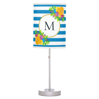 Blue White Striped Bright Spring Floral Monogram Table Lamp