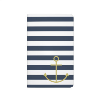 Blue & white striped gold anchor journal