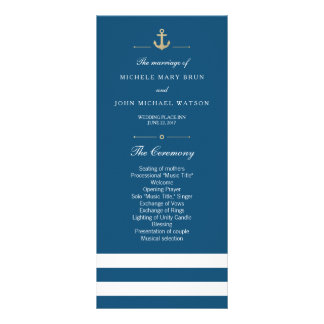 Blue White Striped Nautical Program Rack Cards