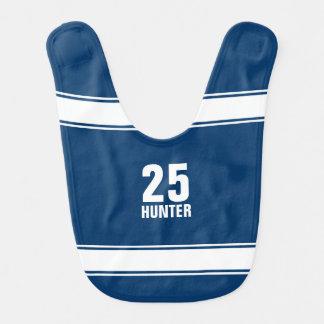 Blue & White Striped Number Sports Jersey Baby Bib