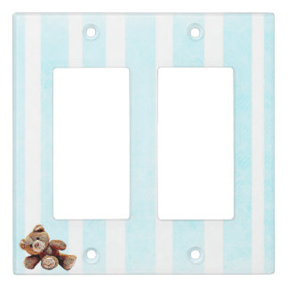 Blue & White striped Teddy Bear Light Switch Cover