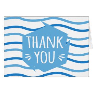 Blue & White Stripes Abstract Thank You - Wedding Card