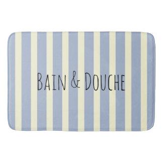 Blue white stripes bath mat