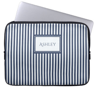 Blue & White Stripes Custom Name Laptop Sleeve