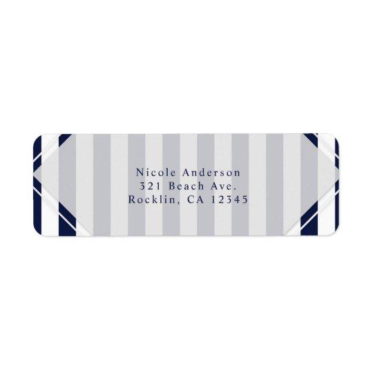 Blue & White Stripes Modern Striped Invitation Return Address Label