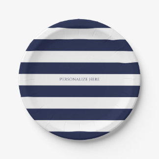 Blue & White Stripes Modern Striped Personalized 7 Inch Paper Plate