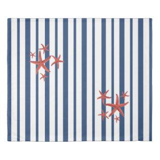 Blue & White Stripes & Orange Starfish Duvet Cover