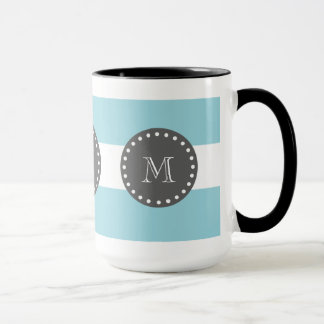 Blue White Stripes Pattern, Charcoal Monogram Mug