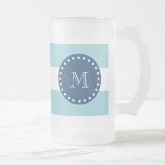 Blue White Stripes Pattern, Navy Blue Monogram Frosted Glass Beer Mug