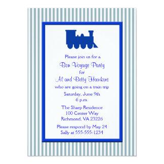 Blue White Stripes Train Bon Voyage Party Card