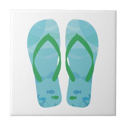 Blue White Summer Beach Flip Flops Ceramic Tile