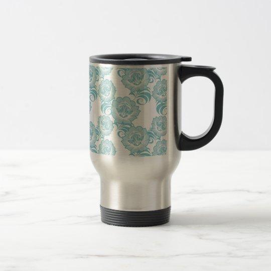 Blue White Swirl Flower Pattern Design Travel Mug