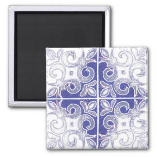 Blue White Swirl Inspired by Portuguese Azulejos Square Magnet