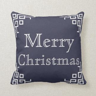 Blue & White Swirl Merry Christmas Pillow