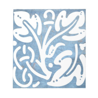 Blue White Tarp Pine Celtic Knot Leaf Notepad