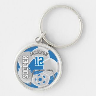 Blue & White Team Soccer Ball Keychain