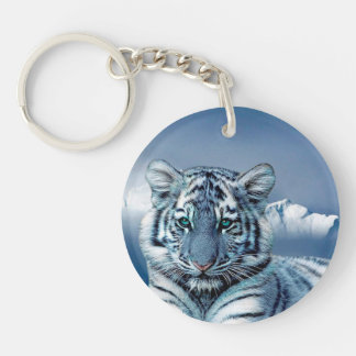 Blue White Tiger Double-Sided Round Acrylic Keychain