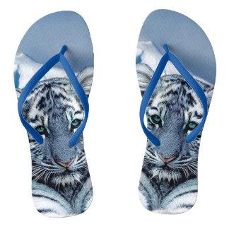 Blue White Tiger Flip Flops