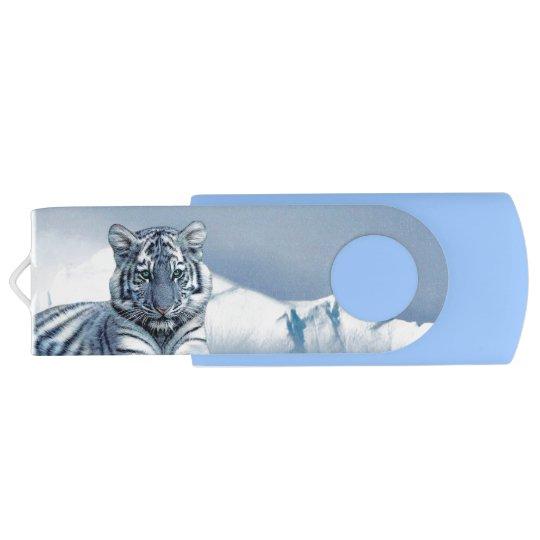 Blue White Tiger Swivel USB 3.0 Flash Drive